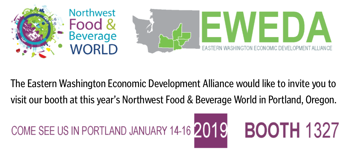 The Eastern Washington Economic Development Alliance would like to invite you to visit our booth at this year's Northwest Food & Beverage World in Portland, Oregon.