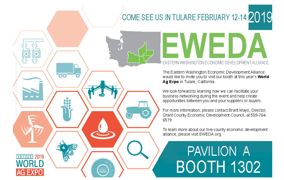 The Eastern Washington Economic Development Alliance would like to invite you to visit our booth at this year's World Ag Expo in Tulare, California